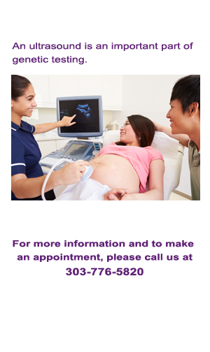 Photo of female technician giving woman an ultrasound with husband/father looking on.